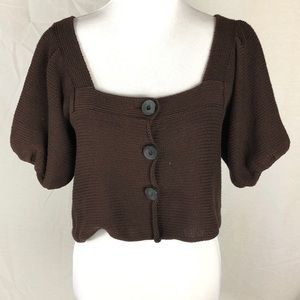 Free people brown bubble sleeve sweater size m
